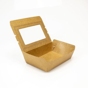 Caixa papel kraft  C/ visor -1.100ML (Caixa 200 uni)