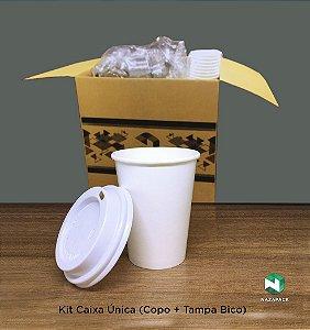 Kit Copo Polipapel + Tampa bico 240ml -Kraft ou Branco - Lançamento