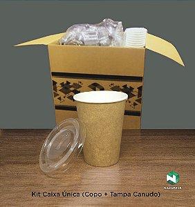 Kit Copo Polipapel + Tampa P/ Canudo 240ml -Kraft ou Branco - Lançamento