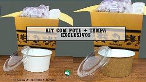 Kit Pote Polipapel + Tampa pet 50ml -Kraft ou Branco - Lançamento