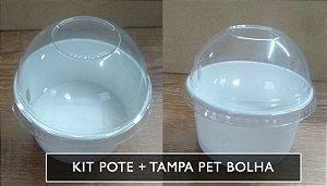 Kit Pote Polipapel + Tampa pet BOLHA -300ml -Kraft ou Branco - Lançamento