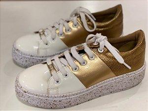 Tênis Branco/ouro