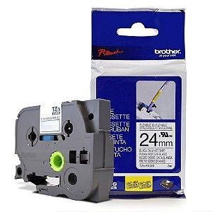 Fita Flexível p/ Rotulador Brother TZeFX-251 Preto Sobre Branca 24mm