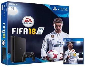 Console Playstation 4 Slim 1tb 1 Tera com o Jogo Fifa 18 (Em Português - Mídia Física) - Sony