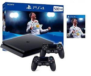 Console Playstation 4 Slim 500 GB Com 2 Controles + Jogo Fifa 18 (Mídia Física Em Português)
