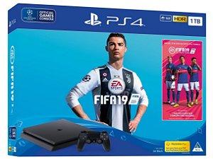 Console Playstation 4 Slim 1tb 1 Tera com o Jogo FIFA 19 (Mídia Física) - Sony