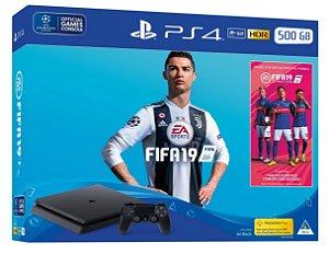 Console Playstation 4 Slim 500 Gb com o Jogo FIFA 19 (Mídia Física Em Português) - Sony