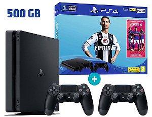Console Playstation 4 Slim 500 Gb Com 2 Controles + Jogo FIFA 19 (Mídia Física Em Português)