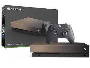 Console Xbox One X Gold Rush Edição Especial - Gold - 1 Tera - Microsoft