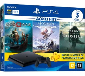 Console Playstation 4 Slim 1 Tera Bundle Hits - God of War + Horizon Zero Dawn + Shadow of Colossus + PSN - Sony
