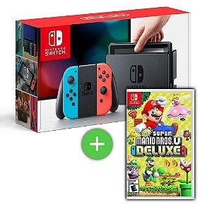 Console Nintendo Switch Gray Cinza ou Neon + Jogo New Super Mario Bros. U Deluxe - Switch