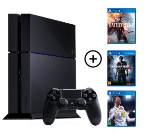 Console Playstation 4 Seminovo + 3 Jogos (Mídia Física) - Sony