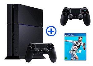 Console Playstation 4 Seminovo 500gb com 2 Controles + FIFA 18 - OFERTA ESPECIAL - Sony