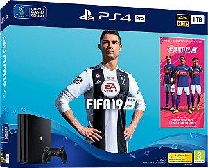 Console PlayStation 4 Pro 4k 1 Tera + Fifa 19 (Mídia Física) - Sony