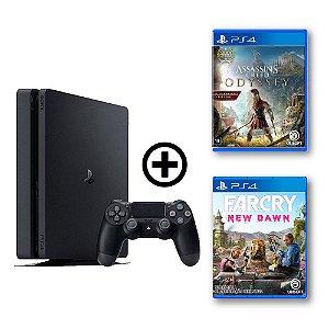 Console Playstation 4 Slim 500gb + Assassin's Creed Odyssey + Far Cry New Dawn - OFERTA ESPECIAL - Sony