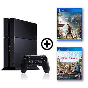 Console Playstation 4 Seminovo + Assassin's Creed Odyssey + Far Cry New Dawn - OFERTA ESPECIAL - Sony