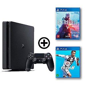 Console Playstation 4 Slim 500gb + Battlefield V + FIFA 19 - OFERTA ESPECIAL - Sony
