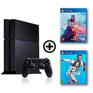 Console Playstation 4 Seminovo + Battlefield V + FIFA 19 - OFERTA ESPECIAL - Sony