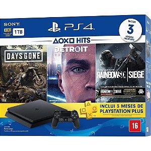 Console Playstation 4 Slim 1 Tera Bundle Hits - Days Gone - Detroit - Rainbow Six Siege - Sony