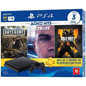 Console Playstation 4 Slim 1 Tera Bundle Hits - Days Gone - Detroit - Call of Duty Black Ops 4 - Sony