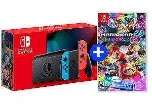 Console Nintendo Switch MODELO NOVO Cinza/Neon + Jogo Mario Kart 8 Deluxe - Switch