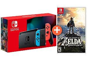 Console Nintendo Switch MODELO NOVO Cinza/Neon + Jogo Zelda Breath of The Wild - Switch