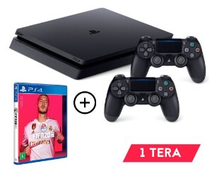 Console Playstation 4 Slim 1TB 1 TERA Com 2 Controles + Jogo FIFA 20 (Mídia Física) - OFERTA LIMITADA - Sony