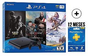 Console Playstation 4 Slim 1 TB GIGA PACK - The Last Of Us - God Of War - Horizon Zero Dawn + 12 MESES PSN PLUS - Sony