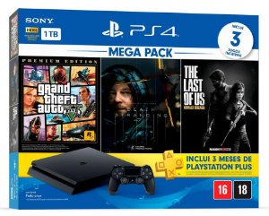 Console Playstation 4 Slim 1 Tera Bundle Hits - GTA V + Death Stranding + The Last of Us - PS4