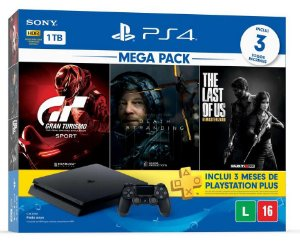 Console Playstation 4 Slim 1 Tera Bundle Hits - Gran Turismo + Death Stranding + The Last of Us - PS4