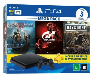 Console Playstation 4 Slim 1 Tera Bundle Hits - God Of War + Gran Turismo + Days Gone - PS4