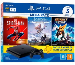 Console Playstation 4 Slim 1Tb Mega Pac - Spider-man + Horizon Zero Dawn + Ratchet e Clank + PSN 3 Meses - PS4