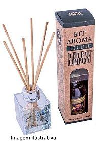 Kit Aroma Le Cube Pequeno: Refil de Extrato 120ml + Frasco de Vidro Quadrado + Varetas - Diversas Fragrâncias.