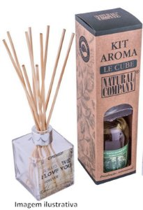 Kit Aroma Le Cube Grande: Refil de Extrato 315ml + Frasco de Vidro Quadrado + Varetas - Diversas Fragrâncias.