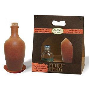 Kit Aroma Terracota: Refil de Extrato 120ml + Frasco Mini-Moringa e Prato Aparador em Argila Composta  - Diversas Fragrâncias.