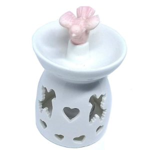 Aromatizador Para Ambiente Réchaud Branco com Pássaro - Cerâmica