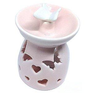 Aromatizador Para Ambiente Réchaud Rosa com Borboleta - Cerâmica