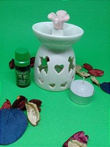 Réchaud em Cerâmica Branca com Pássaro + Essência 10 ml Standard (aroma a escolher) + Vela.