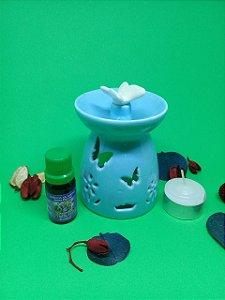 Réchaud em Cerâmica Azul com Borboleta + Essência 10 ml Standard (aroma a escolher) + Vela.