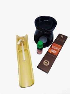 Incensário Bambú+Incenso+Réchaud Clássico+Essência 10ml