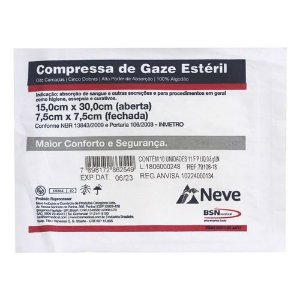 COMPRESSA DE GAZE ESTERIL 7,5X7,5 13F CROCHE NEVE