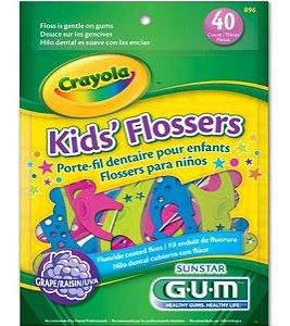 GUM Crayola Kid's Flossers c/40 Flúor Sabor Uva