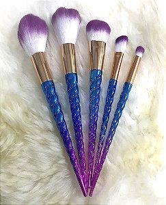 LE VANGEE Pincel Unicórnio Kit c/5 peças Roxo e Azul