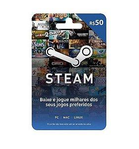 Cartão Pré Pago R$ 50 Reais - Steam