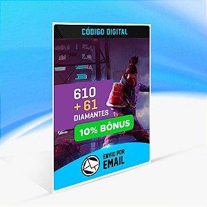 Cartão Free Fire - 610 Diamantes + 61 de Bônus