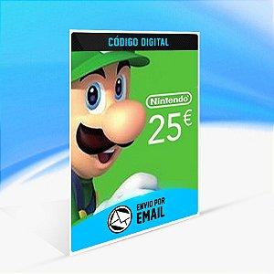 CARTÃO NINTENDO ESHOP EUROPA SWITCH / WII U / 3DS 25 EUROS