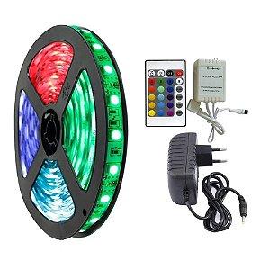 FITA LED RGB 5M C/ FONTE E CONTROLE - P