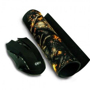 KIT MOUSE USB GAMER + MOUSE PAD GAMER OEX