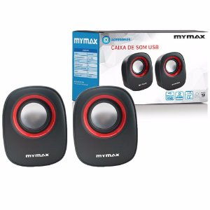 CAIXA SOM USB MYMAX PTO/VERM