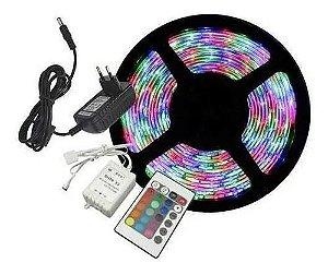 FITA LED RGB 5M C/ FONTE E CONTROLE